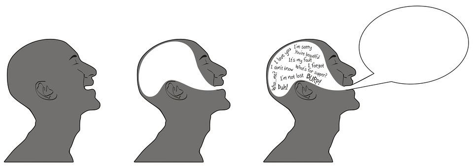 Mensch spricht überzeugen