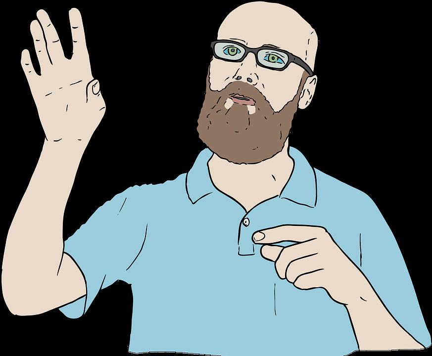 Nonverbale Kommunikation Mann zeigt eine Geste