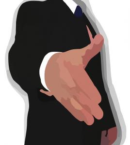Hände austrecken zu dir- Vorstellungsgespräch
