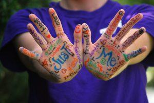 Hände zeigen Füllwörter