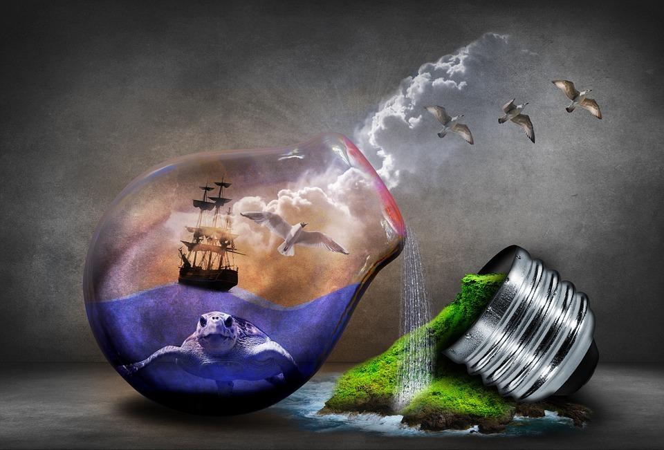 Glas mit Umwelt drin Vortrag halten