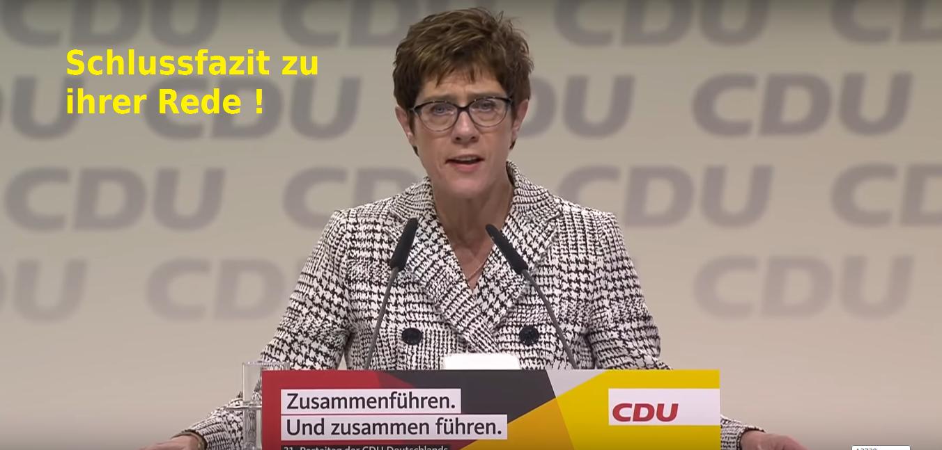 Rhetorik-Analyse von Annegret Kramp-Karrenbauer Fazit