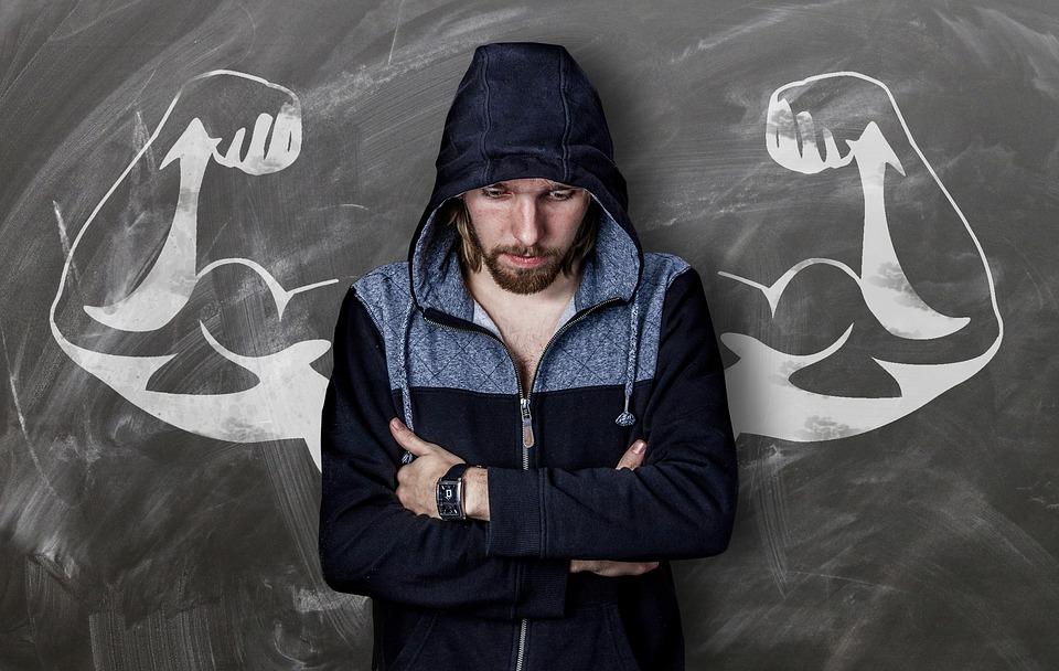 Mann schwache Körperhaltung Autorität