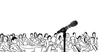 Zuschauer bei einem Redner